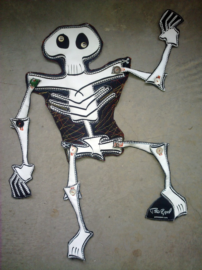 Skeleton / Calaca Soft Sculpture by Pete Ippel