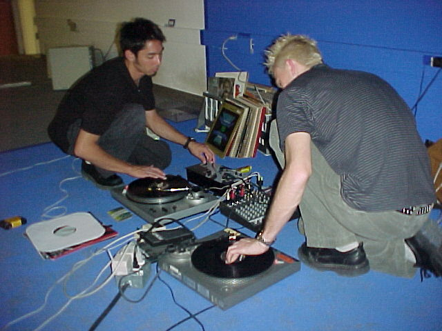 DJZN AKA (Pete Ippel) and Cynical (Ryan Schmidt) Mixing in the Blue Room, Cornell University Tjaden Hall, 2002